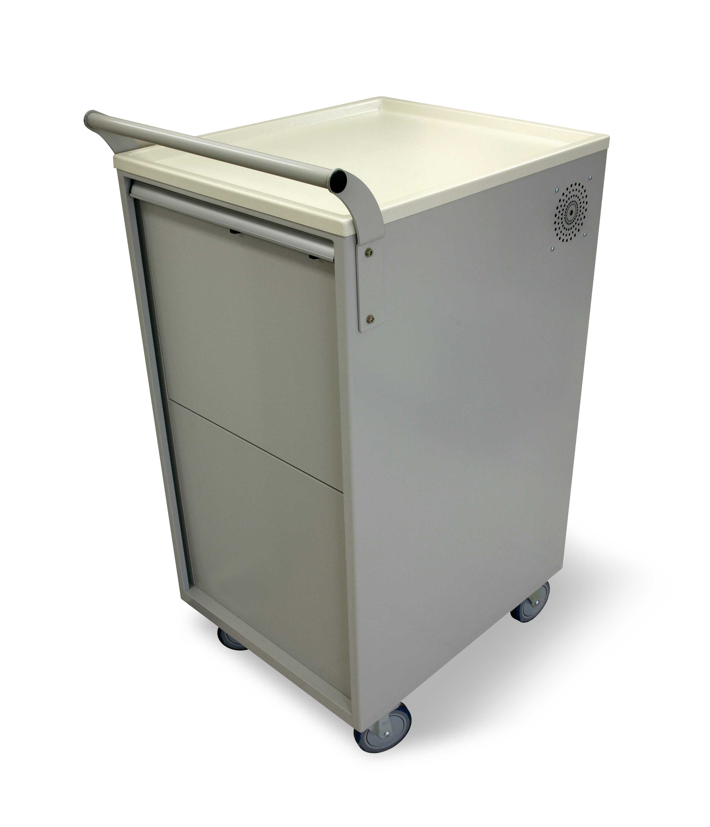 """Mobile Laptop Computer Cart stores securely Notebooks computers. Cart is expandable to store up 18 notebooks / Netbooks while providing full electric recharging and cooling capabilities for each notebook. Cart comes standard with 4 6'heavy duty balloon wheels, foot activated breaks, retractable power cord, multiple side outlets available to use for a projector/printer/scanner on a non skid surface. Optional rail locks allow cart to be secured to wall. Dimensions: 23.5"""" W x 26"""" L x 49.5"""" H"""